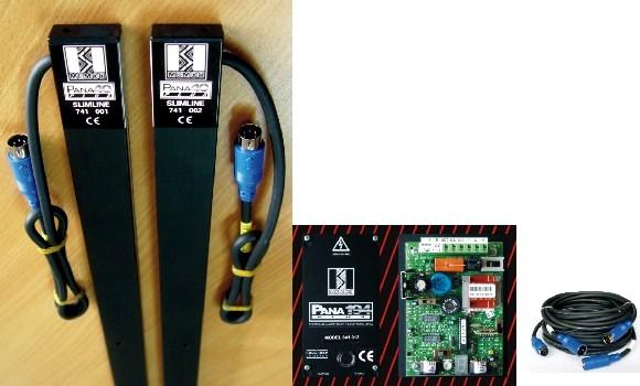 英国门科公司百能系列红外光幕电梯门保护系统由安装在电梯轿厢门两侧的红外发射器 (TX) 与接收器 (RX),安装于电梯轿厢顶的控制器,及连接电缆组成。控制器、探测器、连接电缆为模块化设计,可互换使用。 百能系列红外电梯门保护系统采用独立控制器 (841系列),具有全面的控制检测状态显示等功能。普通红外光幕配置的通常仅为交直流电源盒,控制部分一般集成于光幕线路板上,红外光幕控制程序及内置功能较为简化。 百能系列红外光幕的红外发射器 (TX) 与接收器 (RX) 内分别排列有40对双红外发射管及40个红外接收